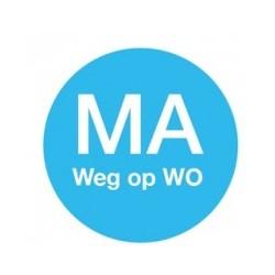 Afwasbare Sticker 'Ma weg op Wo' 19mm 500/rol