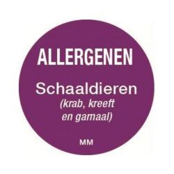 Allergie sticker 'Schaaldieren' rond 25 mm, 1000/rol
