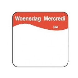 Vol. Oplosbare Sticker 'Woensdag' 25mm, 500/rol
