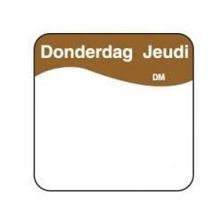 Vol. Oplosbare Sticker 'Donderdag' 25mm, 500/rol