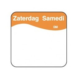 Vol. Oplosbare Sticker 'Zaterdag' 25mm, 500/rol