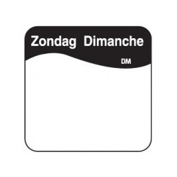 Vol. Oplosbare Sticker 'Zondag' 25mm, 500/rol