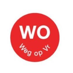 Perm. Sticker 'Wo weg op Vr' 1000/rol